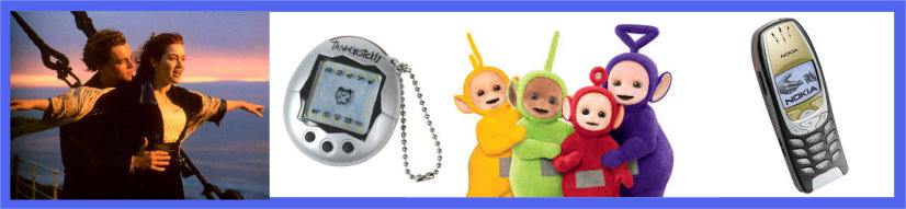 An image of items/media from 1997, including a still from Titanic, a Tamagotchi, the Teletubbies and an old Nokia phone.