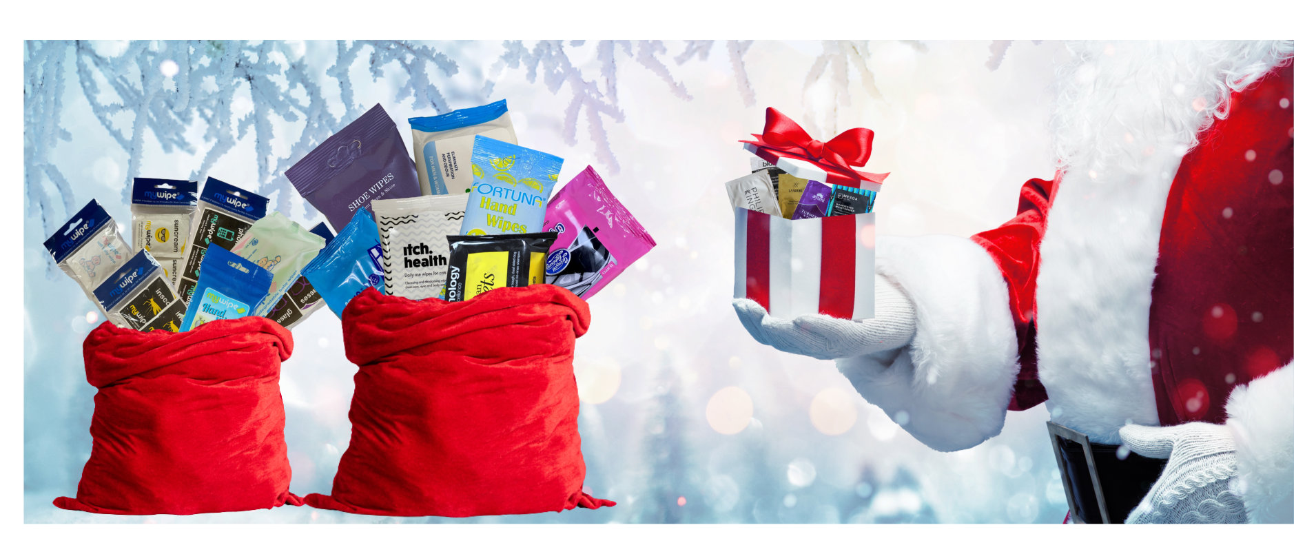 A picture of Santa delivering gifts and sacks full of wipe and sachet product gifts.