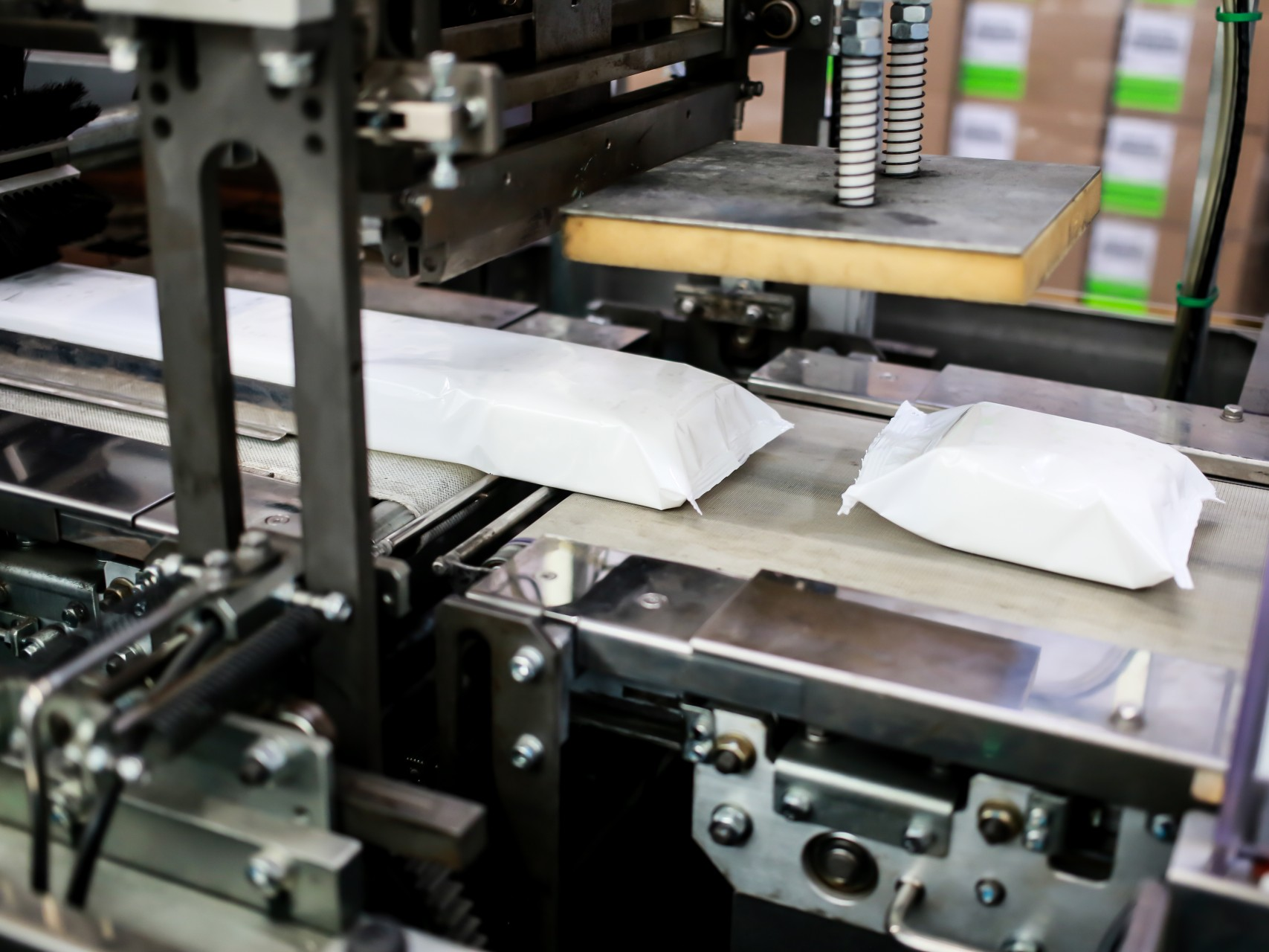A picture of wet wipes being packaged at the Guardpack factory.