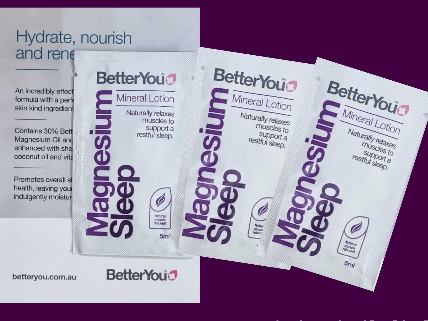 Sachets of beauty products to represent the future of cosmetic sampling.