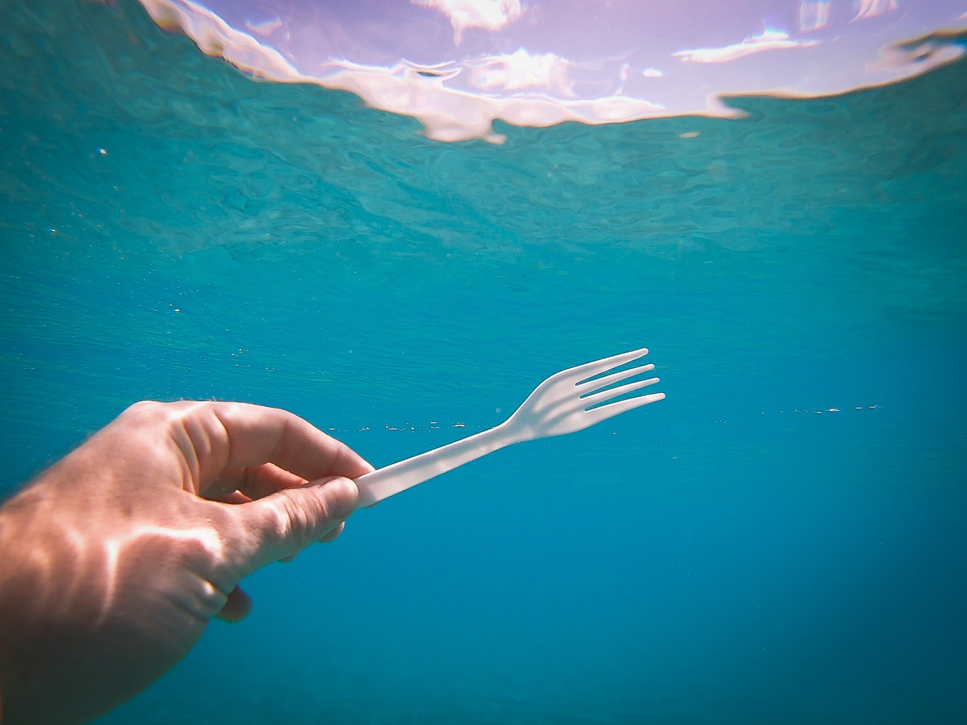 A single-use plastic fork in the water.