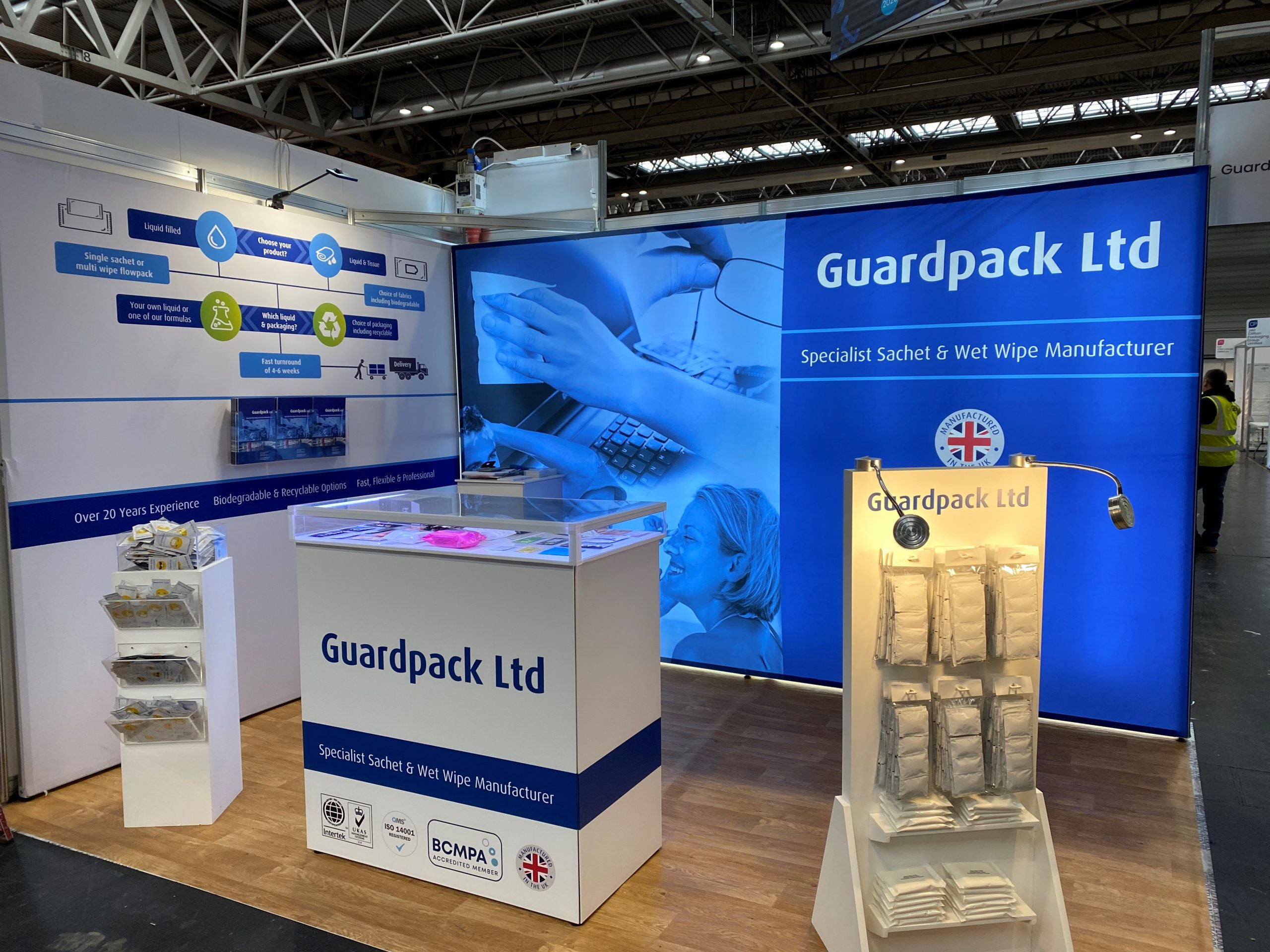 Guardpack and mywipe exhibiting antibacterial wipes at the Casual Dining Show